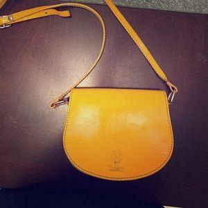 Mustard color Italian leather cross body bag